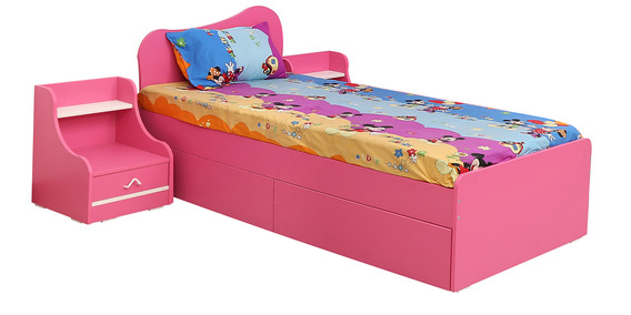 cupcake single bed with one side table in barbie pink frosty white colour by rawat cupcake single