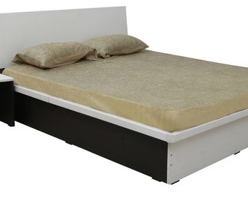 series 36queen bed with one side table in frosty white colour by rawat series 36 queen bed