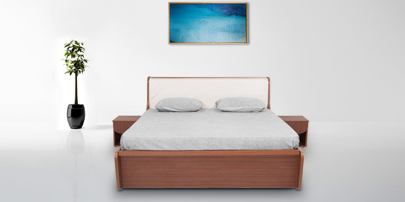 turin queen bed with two side tables in brown colour by rawat turin queen bed with two side tables