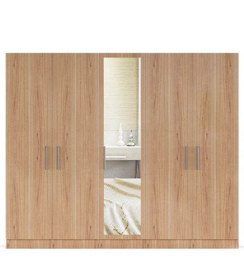 five door wardrobe in swiss elm bleached finish in mdf-by primorati five door wardrobe