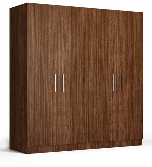 four door wardrobe in viking teak finish in ply by primorati four door wardrobe