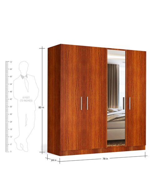 four door wardrobe with mirror in bird cherry finish in mdf by primorati four door wardrobe