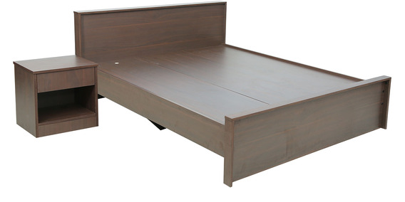 rawat lucerne queen bed with side table in brown colour by rawat rawat lucerne queen bed