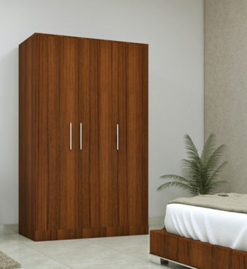 three door compact wardobe in plpb with classic walnut finish by primorati three door compact wardobe