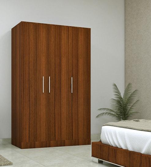 three door compact wardobe in plpb with classic walnut finish by primorati three door compact wardobe
