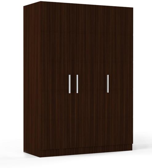 three door wardrobe in brazilian walnut finish in ply by primorati three door wardrobe