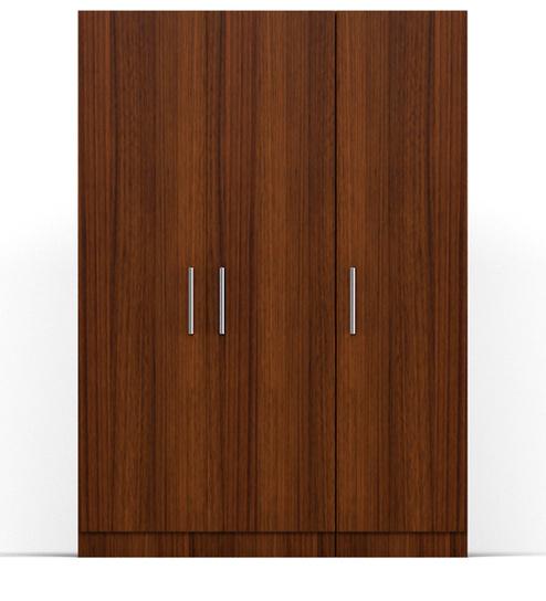 three door wardrobe in classic walnut finish in plpb-by primorati three door wardrobe