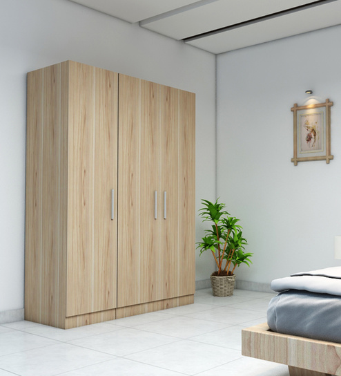 three-door-wardrobe-in-swiss-elm-finish-in- & Three Doors Wardrobe in MDF By Primorati | Rawat Furniture
