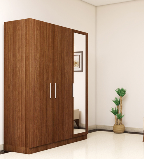 three door wardrobe with mirror in viking teak finish in ply by primorati three door wardrobe