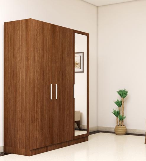 Three Door Wardrobe With Mirror In Viking Teak Finish Ply By Primorati