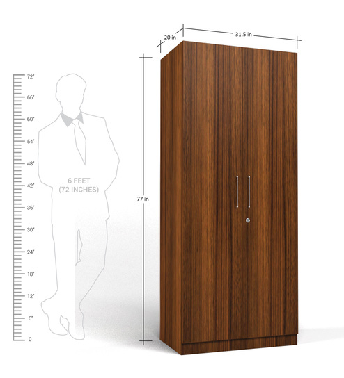 two door compact wardrobe in mdf with classic walnut finish by primorati two door compact wardrobe
