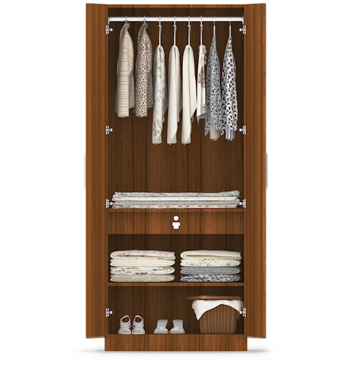 ... two door compact wardrobe in mdf with classic walnut finish by  primorati two door compact wardrobe ...