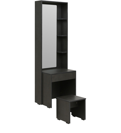 Geneva Dressing Table With Mirror Stool In Black Colour By Rawat