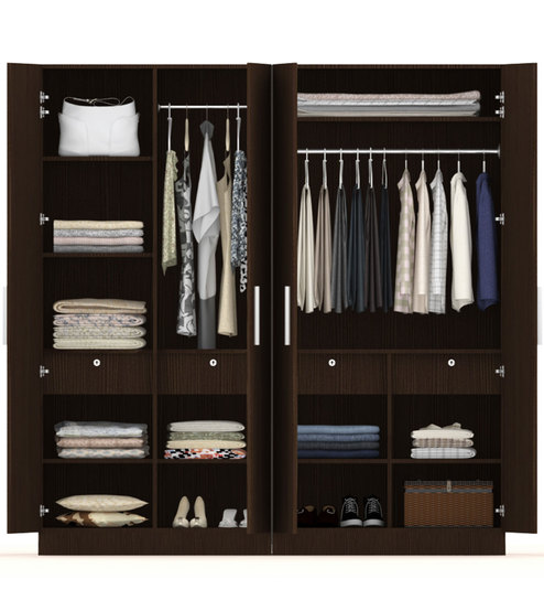 4 Doors Wardrobe With Figured Wenge Finish Rawat Furniture